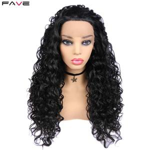 Image 3 - お気に入り黒レースフロント 1.5*30 ロングアフロカーリー耐熱性繊維の毛黒人女性のための毎日パーティーアフリカ合成かつら
