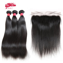 Ali Queen Ear To Ear 13x4 Lace Frontal Closure With 3 Bundles Brazilian Straight Human Weaves Unprocessed Virgin Hair Free Part(China)