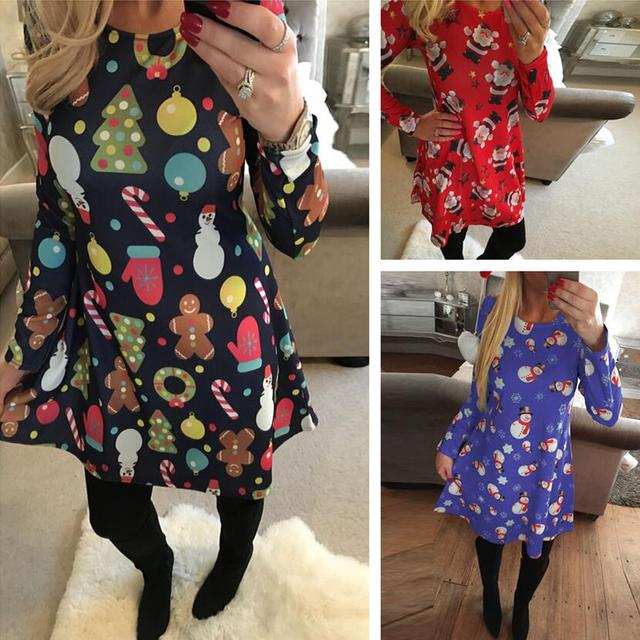 1aef5835fadcb S-5XL Large Size Casual Women Dresses Cute Printed Christmas Dress Winter  2019 Black Red Loose Plus Size Party Dress Vestidos