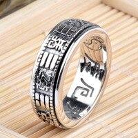 925 Gümüş Yüzük Kadınlar için Benzersiz sekiz trigram'ların Desen 100% Gerçek S925 Katı Gümüş Yüzük Erkek Takı HYR24