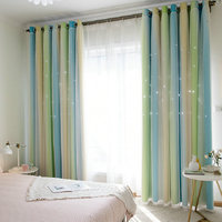 Curtains for Living Room Hollow star gradient double layer full shade Nordic wind lace window custom