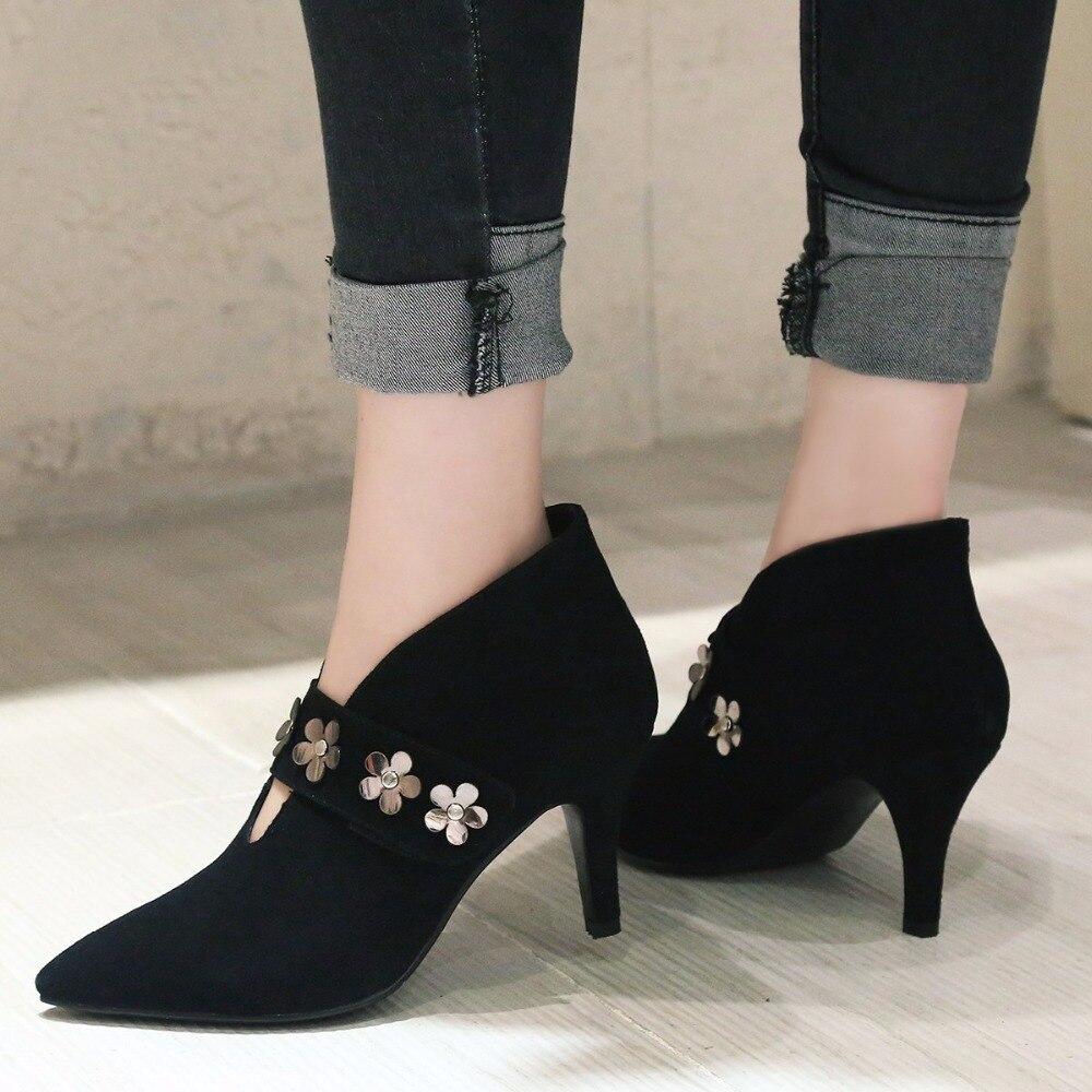 6886e55c533d0e Krazing pot 2018 kid suede femmes marque chaussures à talons hauts stiletto  femme pompes bout pointu fleurs élégant Automne chaussures autres L07 dans  ...