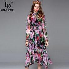 LD LINDA DELLA Spring Fashion Runway Vintage Dress Women's Long Sleeve Elastic Waist Elegant Chiffon Floral Printed  Dress цена и фото