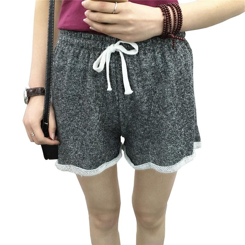 2017 Summer Women s Loose Causal Cotton Shorts Fashion Women Elastic Waist  Fitness Regular Workout Ladies Short Trousers D050 55fb477257