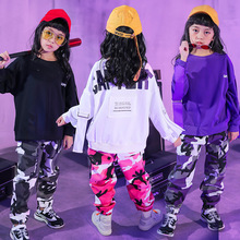 цены Teen Girls Clothing Set Streetwear Hip-hop Clothes for Children Boys Autumn Camouflage Trousers and Loose O-neck Sweatshirts 16Y