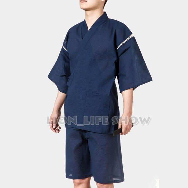 Мужчины Jinbei Японского Кимоно С Коротким Рукавом 2 ШТ. Набор Пижамы Пижамы Loungewear