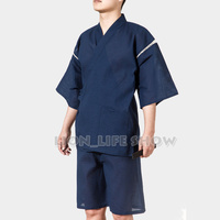 Men Jinbei Japanese Kimono Short Sleeve 2PCS Set Sleepwear Pajama Loungewear