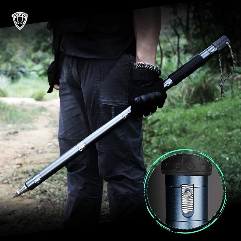 Outdoor Survival Self Defense Stick Defense Tactical Trekking Pole Stinger Multifunctional Climbing Camping Hiking Walking Cane