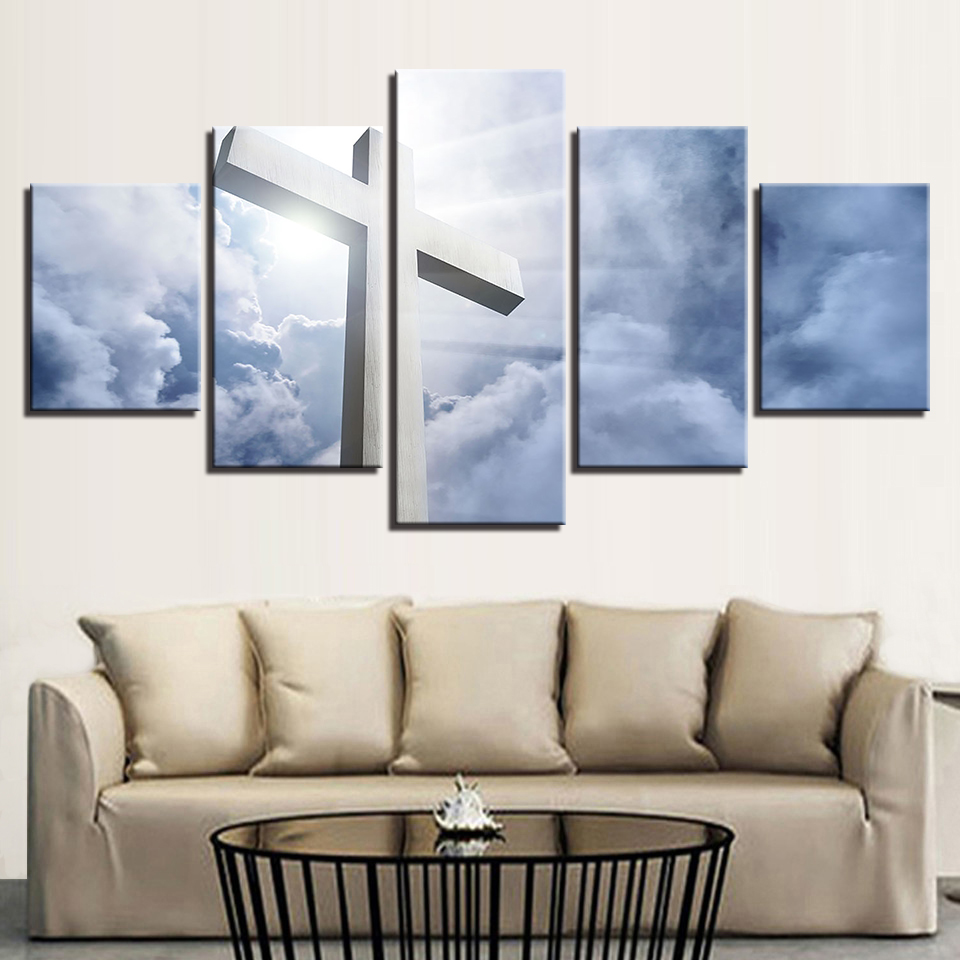 Canvas Home Decor Living Room HD Prints Pictures 5 Pieces White ...