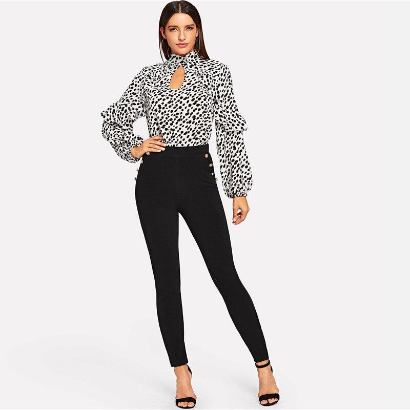 Pantalones de dama negros con botones para oficina Paraíso de la Moda | PdM