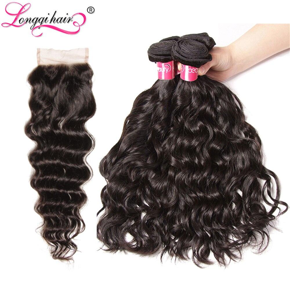 Longqi Hair Water Wave Bundles With Closure Malaysian Hair Weave Bundles With Closure Remy Human Hair