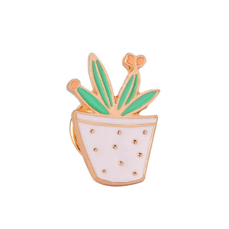 ファッション漫画盆栽サボテン植物のブローチ男性デニムジャケットラペルバッジ女性ブローチカップルエナメルピンジュエリーホット