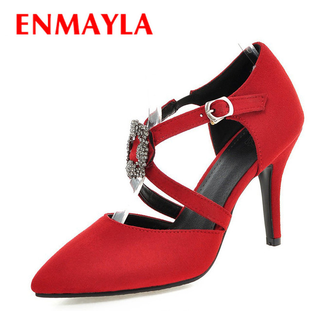996d04872d1 ENMAYLA Summer Sexy High Heel Sandals Women Nubuck Leather Closed Toe  Rhinestone Sandals Red Black Pumps Party Wedding Shoes