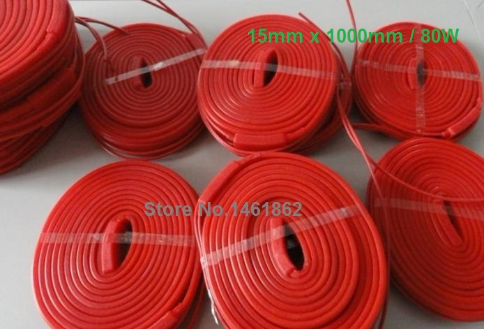 15x1000mm 80W 220V High Quality Flexible Silicone Heating Belt Electric Heat Tracing Belt Silicone Rubber Pipe Heater Waterproof