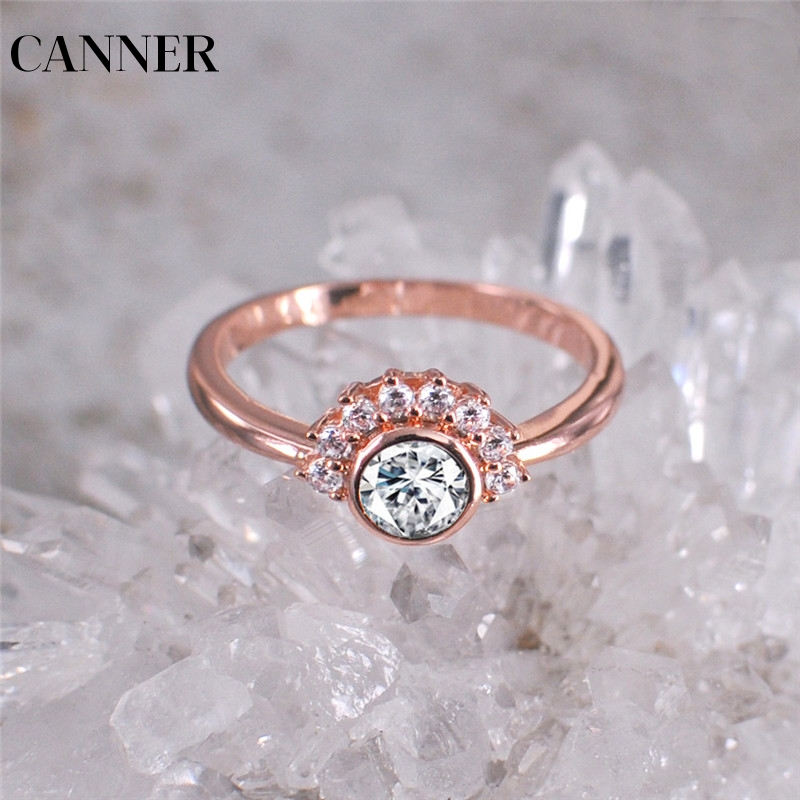 Reliable Canner 2019 Flower Cz Stone Wedding Rings For Women Jewelry Love Engagement Ring Rose Gold Color Wedding Ring Dropshipping R4 Good For Energy And The Spleen