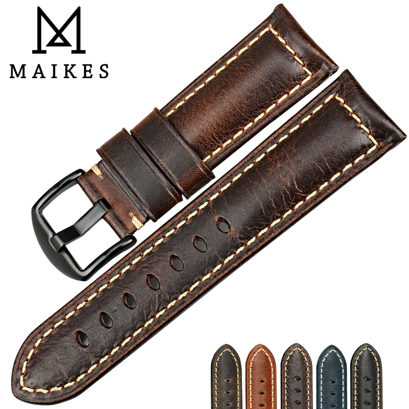 MAIKES High quality watch accessories watchbands 22mm 24mm 26mm brown vintage oil wax leather watch band for Fossil watch strap maikes 18mm 20mm 22mm watch belt accessories watchbands black genuine leather band watch strap watches bracelet for longines