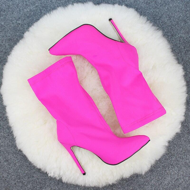 DEleventh INS Chaude EGO Carson Bout Pointu Stilettos Chaussures À Talons Hauts Femme Bottes Couleur Mélangée Carda Elsie Bootie Chesta Rouge noir