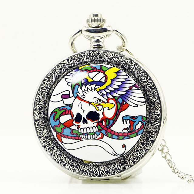 Systematic Antique Bronze Steampunk Quartz Pocket Watch Pirate Skull Head With Wing Chain Men Women Pendant Necklace For Gift Pb610 Pleasant In After-Taste Pocket & Fob Watches
