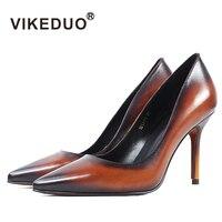 Vikeduo Винтаж Для женщин обувь на высоком каблуке Острый носок из натуральной кожи вечерние свадебные женские туфли лодочки плюс Размеры ручн