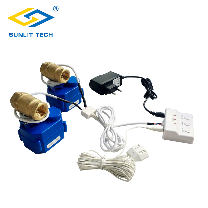 "Home Water Leak Alarm Detector System with 2pcs 1/2"" 3/4"" Motorized Ball Valve BSP for House Kithen Security Water Leak Sensor"