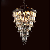 American Village Pastoral Iron Retro Ceiling Lamp Bedroom Bedroom Aisle French Crystal Chandelier Lighting Fixture For