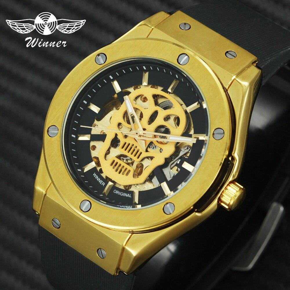 Ganador de los deportes de moda Auto mecánico cráneo relojes para hombre marca de lujo de oro esqueleto Dial correa de caucho reloj de pulsera para hombre