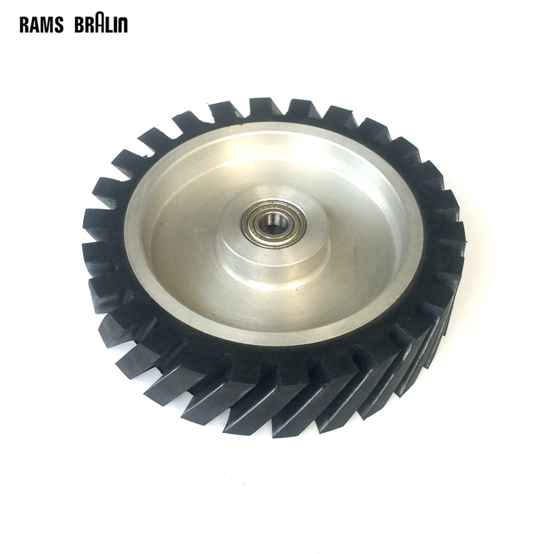 200*50mm Serrated Rubber Contact Wheel Belt Sander Polishing Wheel Abrasive Belts Set 300 50mm flat belt grinder contact wheel dynamically balanced rubber polishing wheel abrasive sanding belt set
