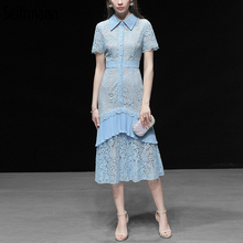 Seifrmann New 2019 Women Spring Summer Dress Runway Fashion Designer Short Sleeve Sexy Lace Elegant Slim Mermaid Party Dresses