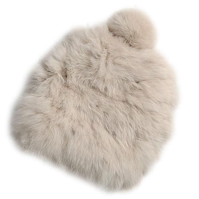 Verdadeira pele de coelho Chapéus de Inverno 2017 das Mulheres Chapéus de pele de Coelho de Tricô caps Skullies Gorros Mulheres Chapéu gorros de cores sólidas cap