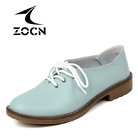ZOCN Genuine Leather Shoes Woman Ballet Flats Oxford Shoes For Women Lace Up Flat Shoes Four