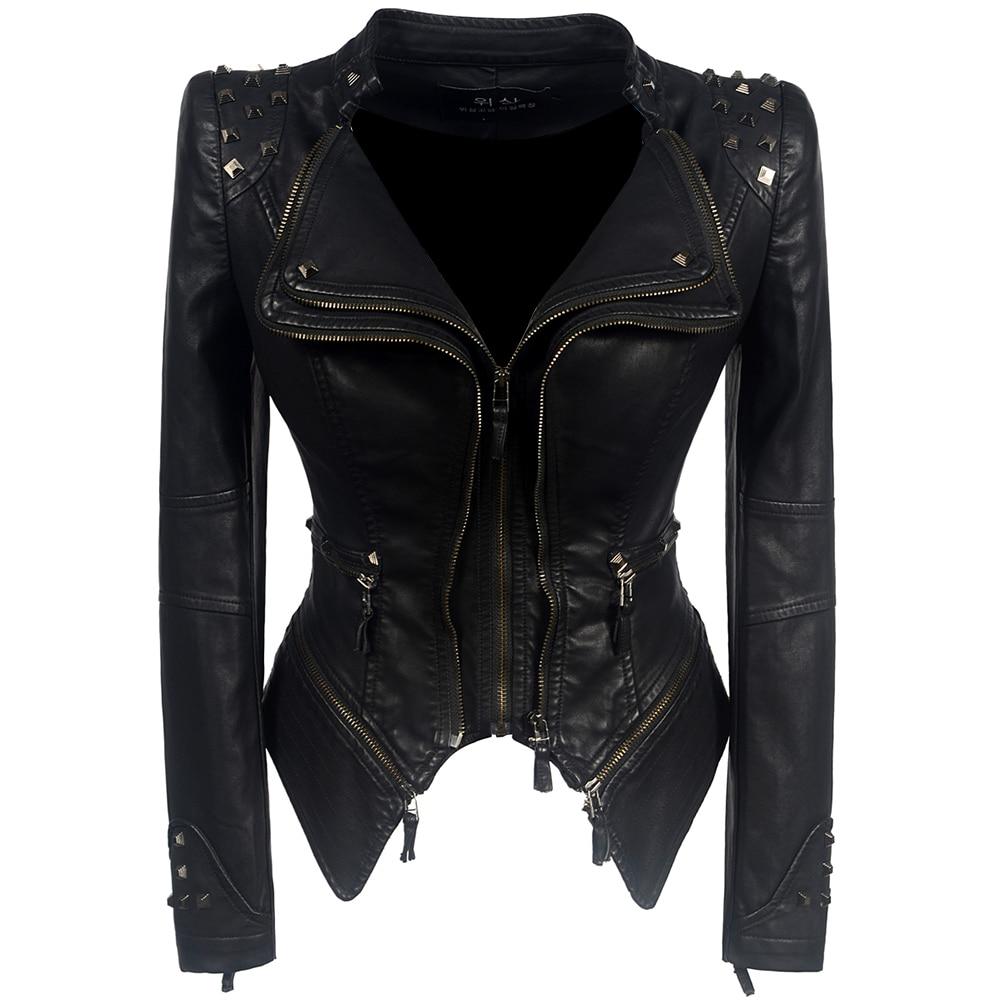 196d199a76 2018 Coat HOT Women Winter Autumn Black Fashion Motorcycle Jacket Outerwear  faux leather PU Jacket Gothic faux leather coats ~ Best Deal June 2019