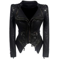 2018 пальто Горячая Для женщин зима-осень черная модная мотоциклетная куртка Верхняя одежда искусственная кожа полиуретан куртка