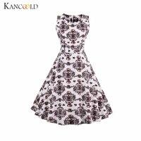 KANCOOLD Dress Sleeveless Large Size Coffee White Coffee Printing Hepburn Wind Retro Dress Vintage Sexy Dress