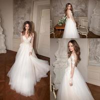 2019 New Sexy Backless Sheer Long Sleeve Lace Wedding Dresses A Line Appliques Tulle Floor Length Vestidos De Novia Berta Bridal