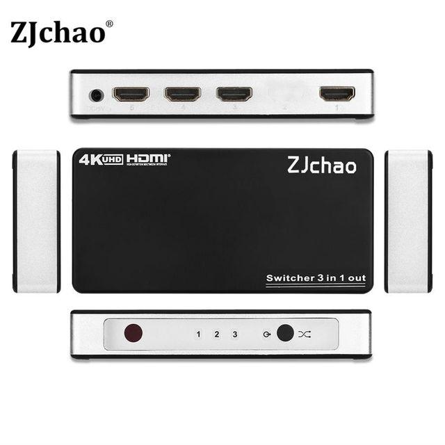 HDMI Splitter 3 Порта Hub Box Авто Ultra HD 4 К x 2 К 3D 1080 P HD 1.4 Переключатель 3 В 1 Из Switcher С Дистанционным Управлением Питания адаптер