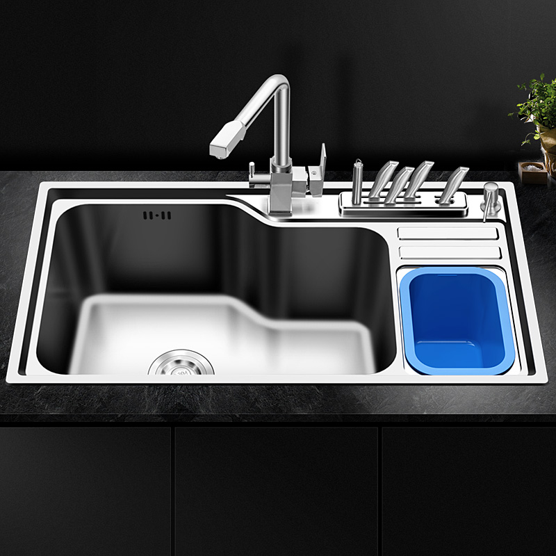 Kitchen wash basin single trough package 304 stainless steel water basin with trash can holder sink wx4181037