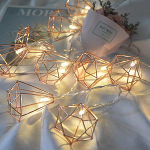 Image 2 - 1.5 متر/3m بطارية معدنية الرجعية بالطاقة أضواء سلسلة جنية LED 10/20 LED الماس فانوس سلسلة مصباح عيد الميلاد عيد الميلاد ديكور المنزل