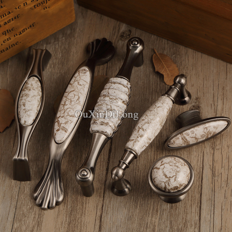 Top Designed 10PCS European Antique Kitchen Door Furniture Handles Ceramic Cupboard Wardrobe Drawer Cabinet Pulls Knobs&Handles