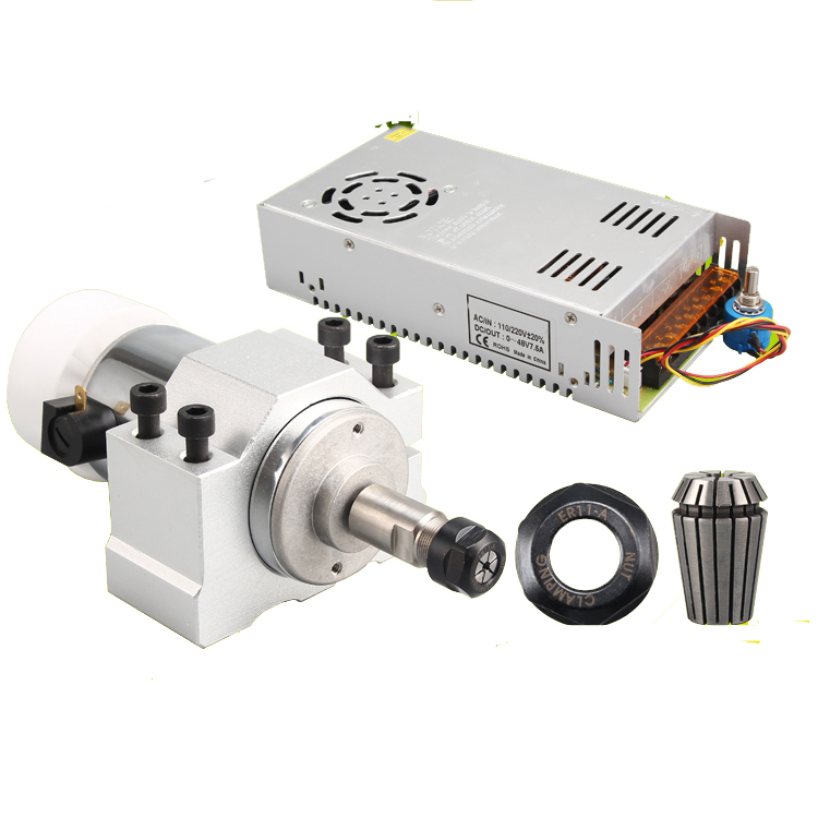 300W Air Cooling Spindle Motor Power Governor+Mount Bracket 9000R/Min DC48V 6A ER11 For CNC DIY Carving PCB Milling Machine dc48v 400w 12000rpm brushless spindle motor air cooled 529mn dia 55mm er11 3 175mm for cnc carving milling