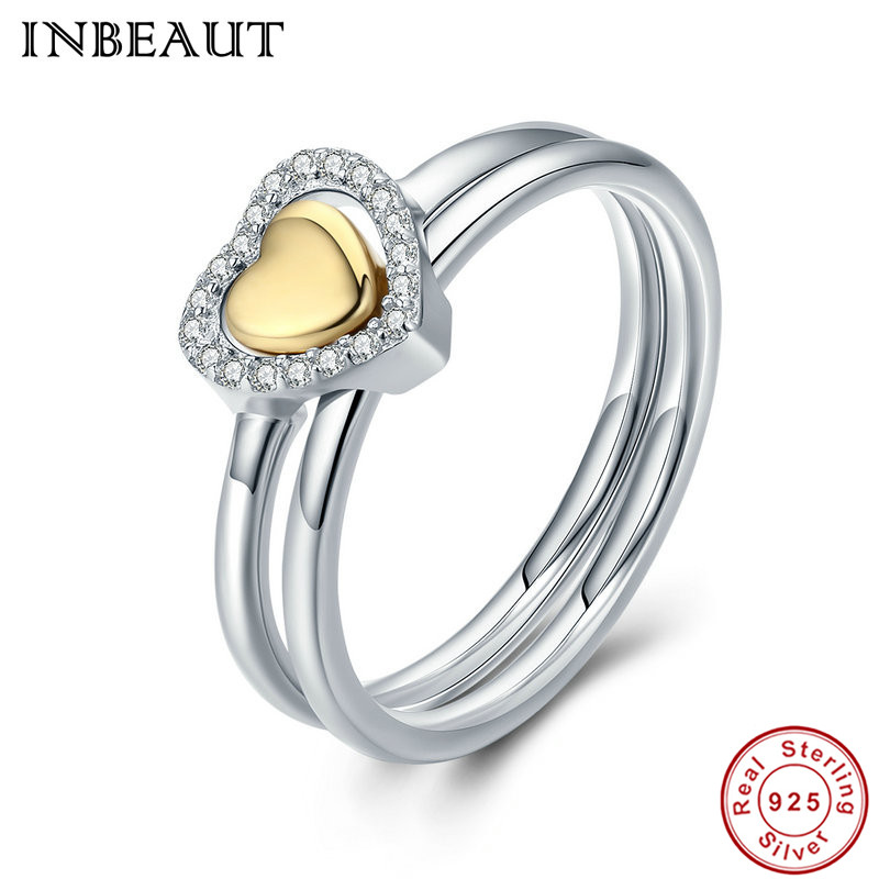 INBEAUT Female Engagement Ring 100% Real 925 Sterling Silver Golden Heart Clear CZ Double Puzzle Rings for Women Trendy Wedding