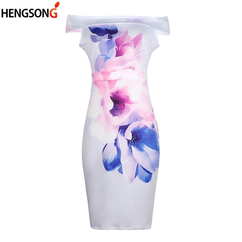 Hengsong 2018 Summer New Explosive Slim Slimming Women's Clothing Sexy Slash Neck Fashion Print Knee-Length Dress 717865