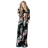 Fashion Women Dress Long Sleeve O Neck Floral Printed Floor Length Maxi Dresses