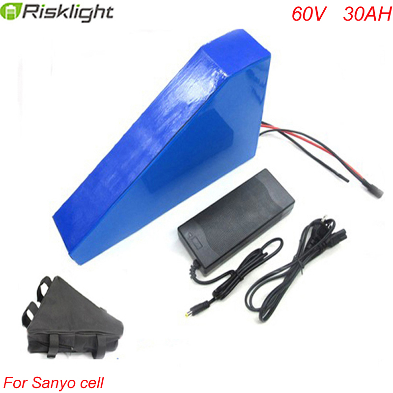 Free customs taxes ebike 60v 3000w  triangle style lithium battery 60v 30ah electric bike battery triangle pack For Sanyo cell free customs taxes and shipping balance scooter home solar system lithium rechargable lifepo4 battery pack 12v 100ah with bms