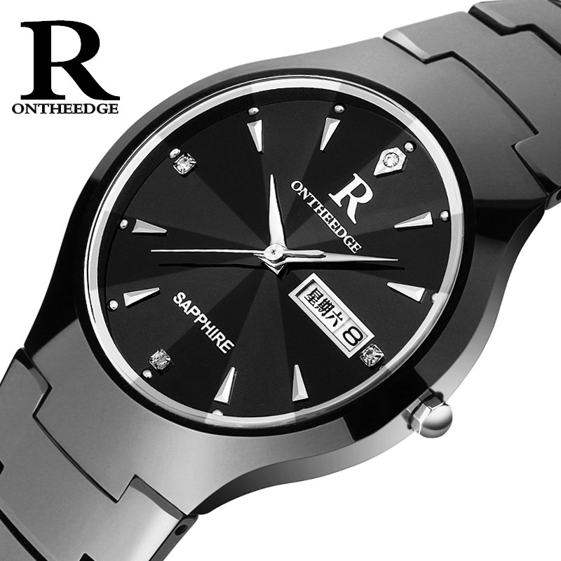 2018 Luxury Brand Ontheedge Tungsten Watch IP Black Shiny Case Diamond Dial and 3D Stainless Steel Marker Vogue Relojes Hombre