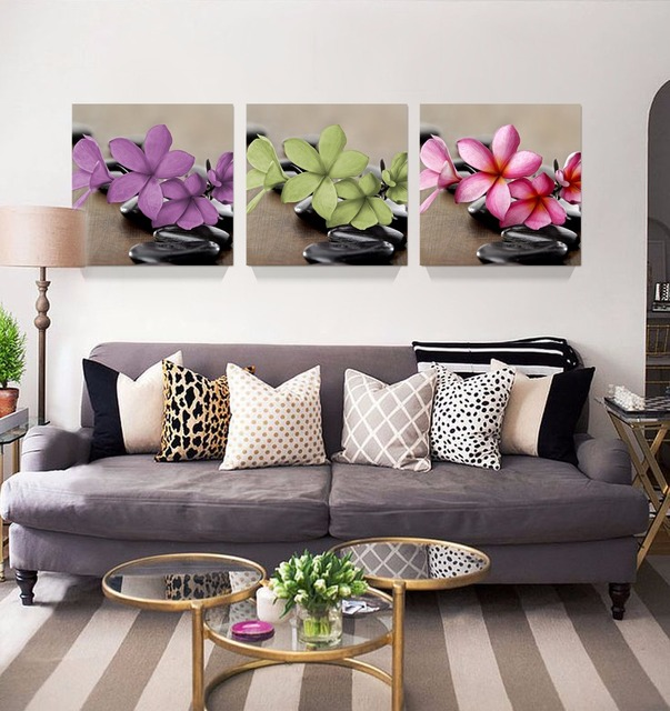 3Pcs 3 Colors Flower Canvas Painting HD Wall Art Home Decoration Accessories Pictures For Living Room Unframed