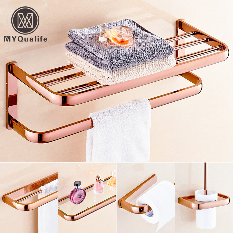 best quality Rose Golden Bath Towel Rack Towel Paper Holder Bar Wall Mounted Brass Glass Shelf Toilet Brush Holder y3698 retro napkin towel toilet paper bin basket holder antique brass
