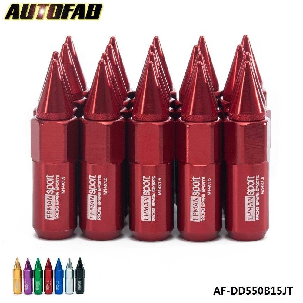 Prix pour AUTOFAB-20 pcs Pointu Avancée Tuner 60mm Écrous de Roues/Jantes M14X1.5 Aluminium AF-DD550B15JT