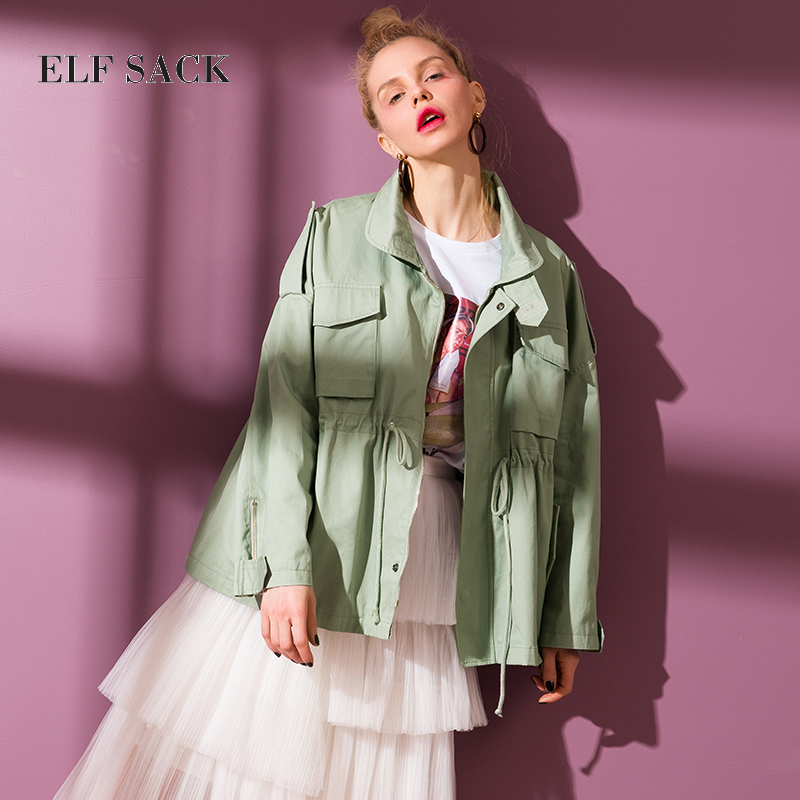 ELF SACK Women Brand Clothing Solid   Trench   Coats Long Sleeve Waisted Loose Worker Outerwear Womans Coats Trenchs Female OL Coat