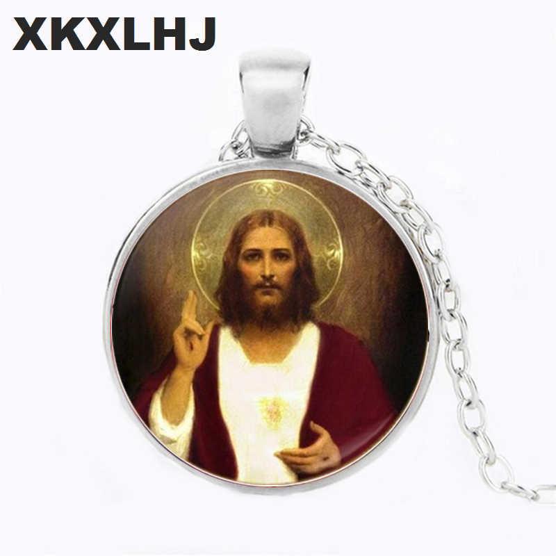 XKXLHJ Sacred Heart of Jesus Cho Cô Gái Bán Buôn Thương Hiệu Sang Trọng Đồ Trang Sức Thủy Tinh Cabochon Choker Đôi Cánh Thiên Thần Mặt Dây Chuyền Vòng Cổ
