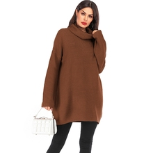 Warm Pullover Sweater Women Jumper Turtleneck Long Sweater Autumn Jumper Pull Top Women Thick winter tops Knitted sweater dress turtleneck ribbed jumper sweater